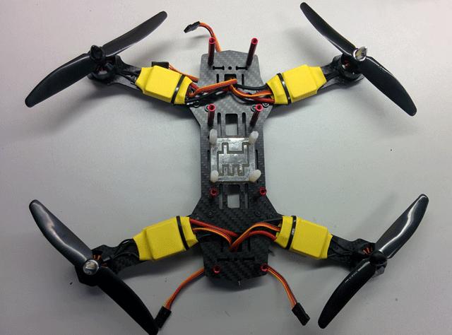 Коптер с установленными двигателями и ESC