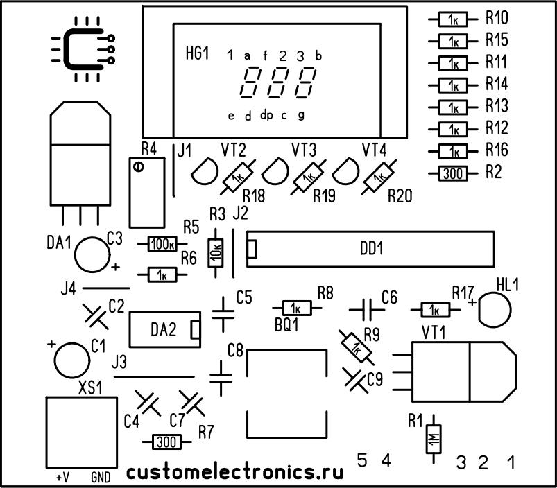 Сборочный чертеж печатной платы паяльной станции Simple Solder MK936